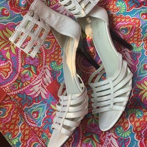 White strappy heel